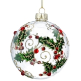 Gisela Graham Clear Glass Ball w Diamante/Painted Holly