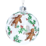 Gisela Graham Clear Glass Ball w Painted Gingerbread Men